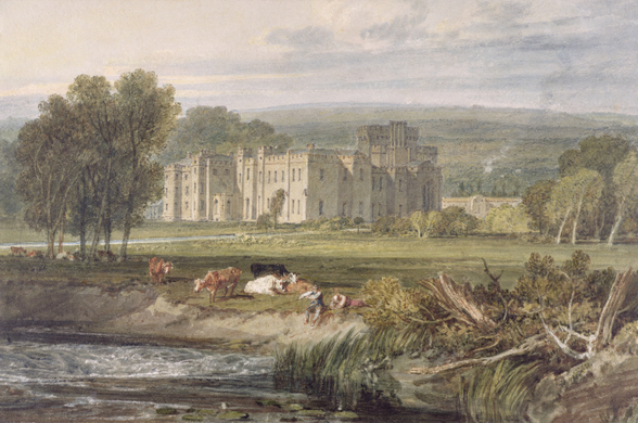 View of Hampton Court, Herefordshire, from the south-east, c.1806 (w/c over graphite on wove paper) mural wallpaper