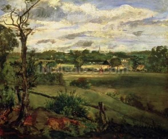 View of Highgate from Hampstead Heath, c.1834 (oil on cardboard) wall mural