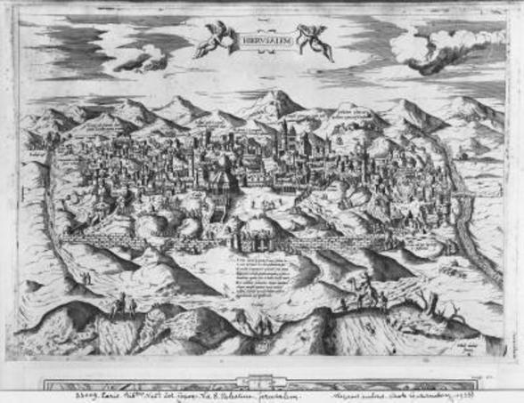 View of Jerusalem, 1570 ? (engraving) (b/w photo) wallpaper mural