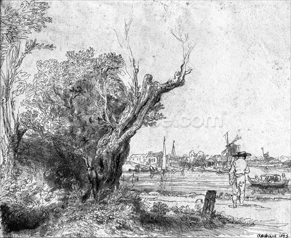 View of Omval, near Amsterdam, 1645 (etching) (b/w photo) wall mural