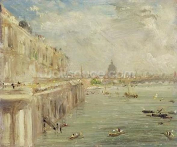 View of Somerset House Terrace and St. Pauls, from the North end of Waterloo Bridge (oil on panel) wall mural