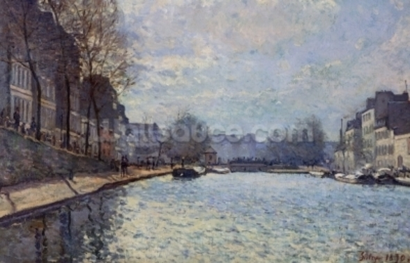 View of the Canal Saint-Martin, Paris, 1870 (oil on canvas) wall mural