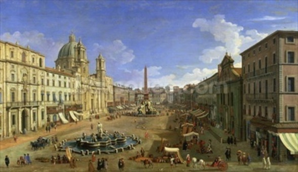 View of the Piazza Navona, Rome (oil on canvas) wall mural