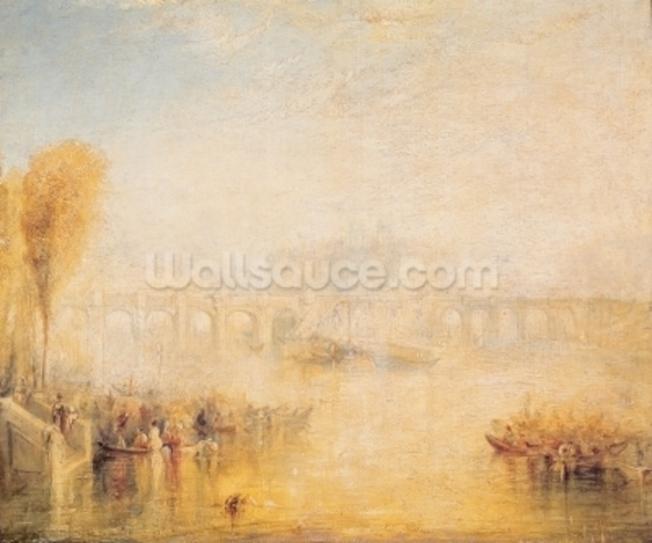 View of the Pont Neuf, Paris (oil on canvas) mural wallpaper