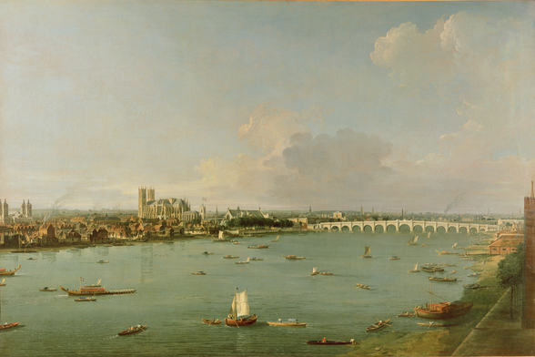 View of the Thames from South of the River wall mural