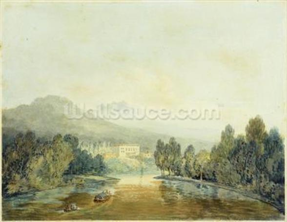 Villa Salviati on the Arno, c.1796-97 (w/c on pencil on paper laid on mount) mural wallpaper