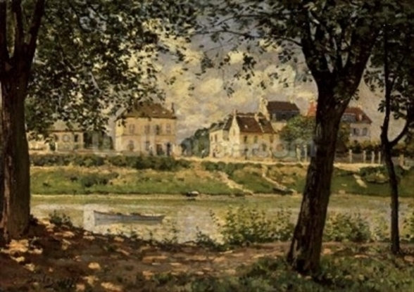 Villeneuve-la-Garenne, or Village by the Seine, 1872 (oil on canvas) wall mural