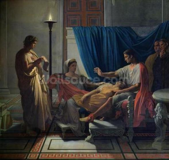 Virgil Reading the Aeneid to Livia, Octavia and Augustus, c.1812 (oil on canvas) wallpaper mural