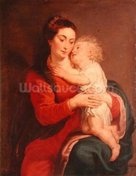 Virgin with Child (oil on canvas) wallpaper mural