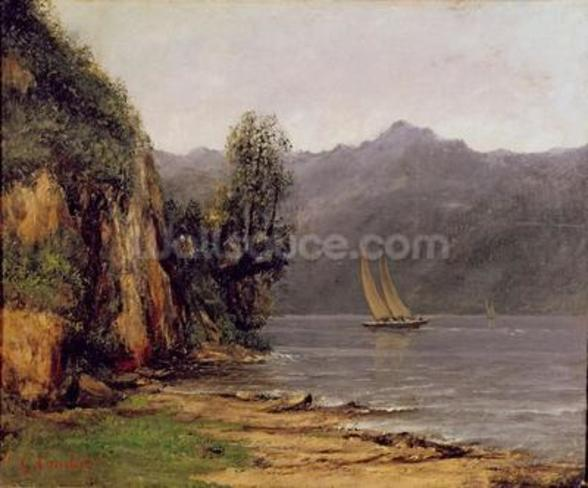 Vue du Lac Leman, c.1873-77 (oil on canvas) mural wallpaper