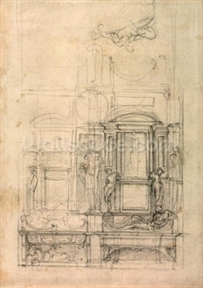 W.26r Design for the Medici Chapel in the church of San Lorenzo, Florence (charcoal) wall mural