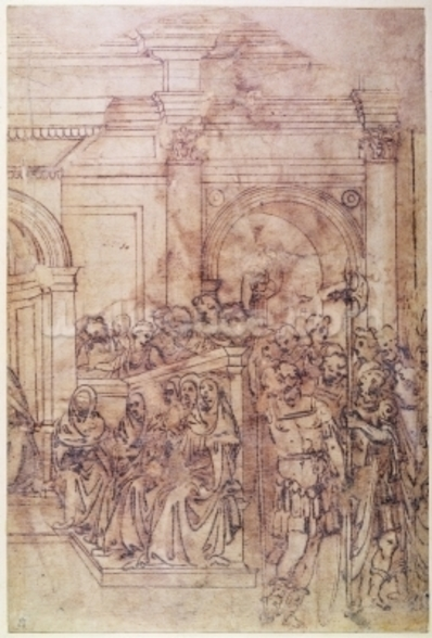 W.29 Sketch of a crowd for a classical scene mural wallpaper