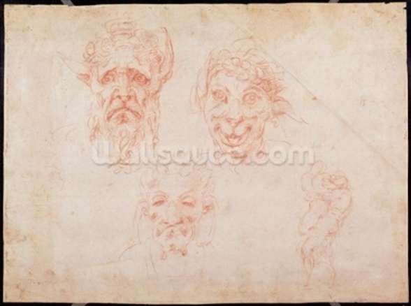 W.33 Sketches of satyrs faces (red chalk on paper) wall mural