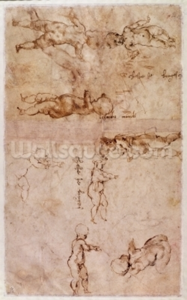 W.4v Page of sketches of babies or cherubs (ink on paper) mural wallpaper