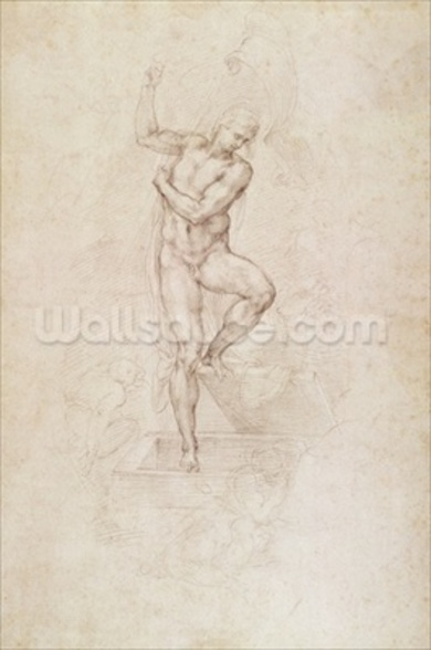 W.53r The Risen Christ, study for the fresco of The Last Judgement in the Sistine Chapel, Vatican (pencil) mural wallpaper