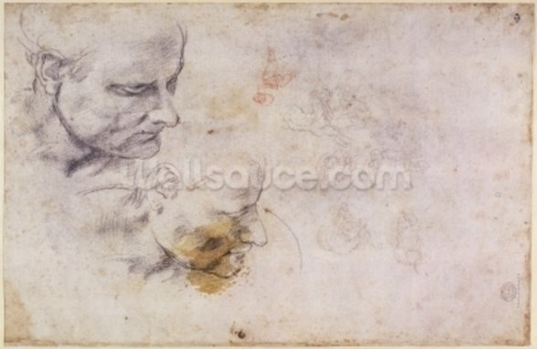 W.60 Sketch of a male head, in two positions (pencil on paper) wall mural
