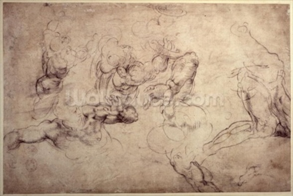 W.61v Male figure studies (pencil on paper) wall mural
