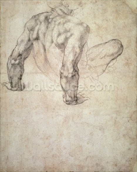 W.63r Study of a male nude, leaning back on his hands (pencil on paper) wall mural