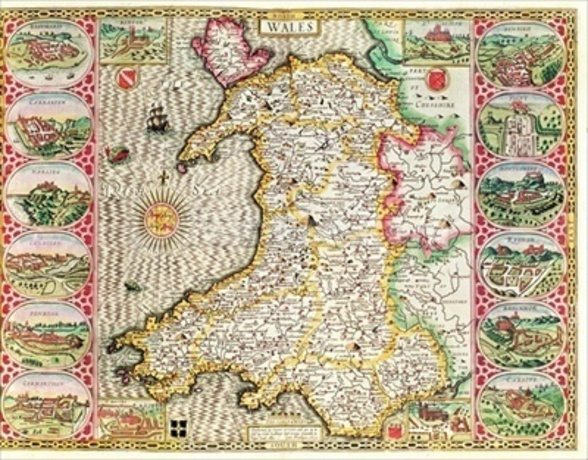 Wales, engraved by Jodocus Hondius (1563-1612) from John Speeds Theatre of the Empire of Great Britain, published by John Sudbury and George Humble, 1611-12 (hand coloured copper engraving) wall mural