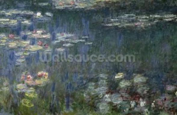 Waterlilies: Green Reflections, 1914-18 (left section) (oil on canvas) wallpaper mural