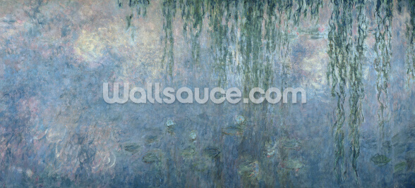 Waterlilies: Morning with Weeping Willows, detail of central section, 1914-18 (oil on canvas) mural wallpaper