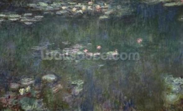 Waterlilies: Green Reflections, 1914-18 (central section) (oil on canvas) (see also 70302 & 56001) wall mural