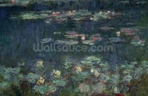 Waterlilies: Green Reflections, 1914-18 (right section) (oil on canvas) (see also 70302 & 56004) wallpaper mural