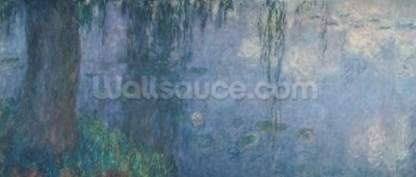 Waterlilies: Morning with Weeping Willows, detail of the left section, 1914-18 (oil on canvas) (see also 71321-22) mural wallpaper
