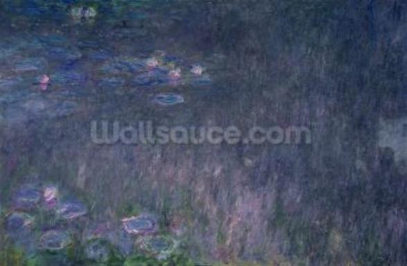 Waterlilies: Reflections of Trees, detail from the left hand side, 1915-26 (oil on canvas) mural wallpaper