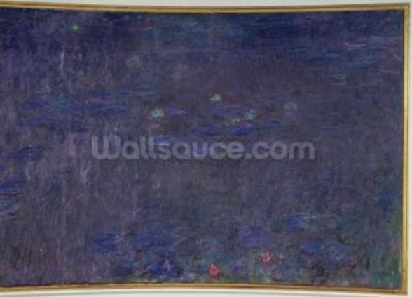 Waterlilies: Reflections of Trees, detail from the right hand side, 1915-26 (oil on canvas) mural wallpaper