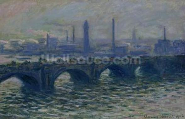 Waterloo Bridge, 1902 (oil on canvas) mural wallpaper