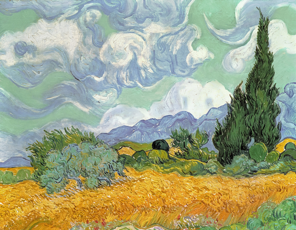 Wheatfield with Cypresses, 1889 (oil on canvas) mural wallpaper