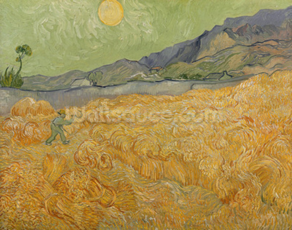 Wheatfield with Reaper, 1889 (oil on canvas) wallpaper mural