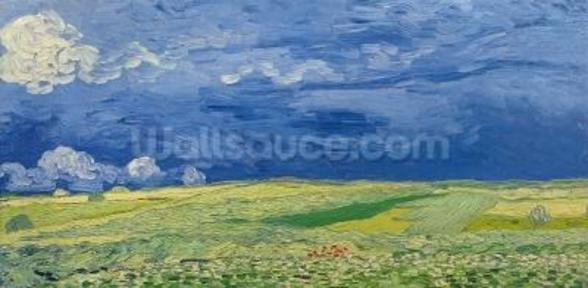 Wheatfields under Thunderclouds, 1890 (oil on canvas) wallpaper mural
