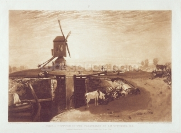 Windmill and Lock, engraved by William Say (1768-1834) (engraving) mural wallpaper