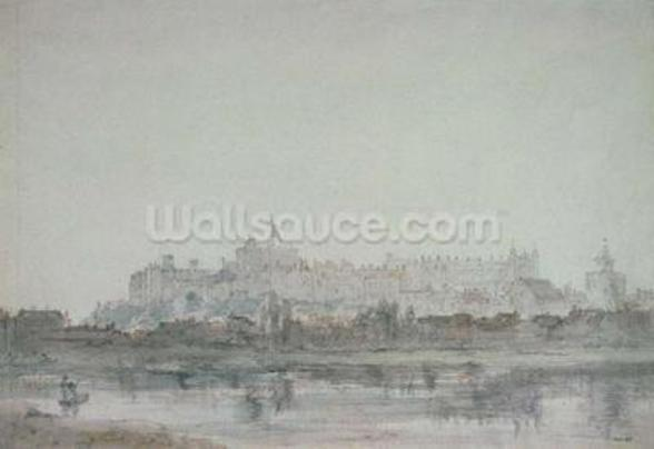 Windsor Castle from the River, 19th century (drawing) wallpaper mural