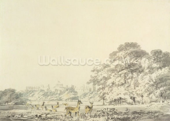 Windsor Castle and Park with Deer (w/c over pencil on paper) mural wallpaper