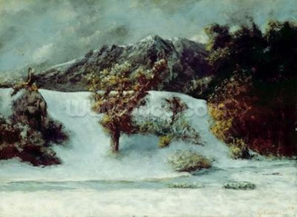 Winter Landscape With The Dents Du Midi, 1876 (oil on canvas) mural wallpaper