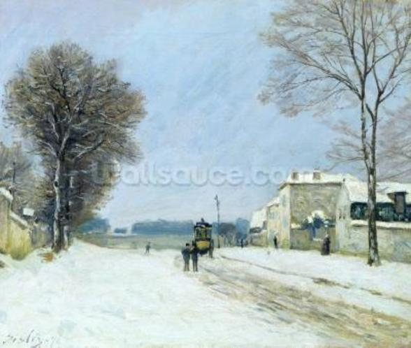 Winter, Snow Effect, 1876 (oil on canvas) mural wallpaper