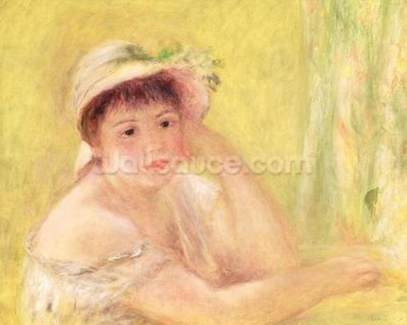 Woman in a Straw Hat, 1879 (oil on canvas) wall mural