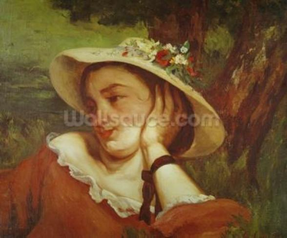 Woman in a Straw Hat with Flowers, c.1857 (oil on canvas) mural wallpaper
