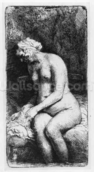 Woman bathing, 1658 (etching) mural wallpaper