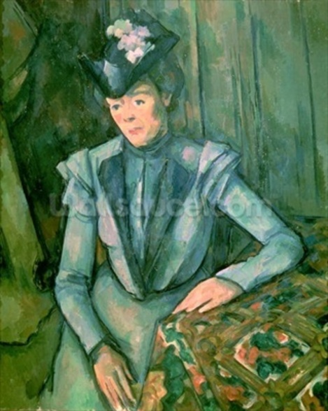 Woman in Blue (Madame Cezanne) 1900-02 (oil on canvas) wallpaper mural