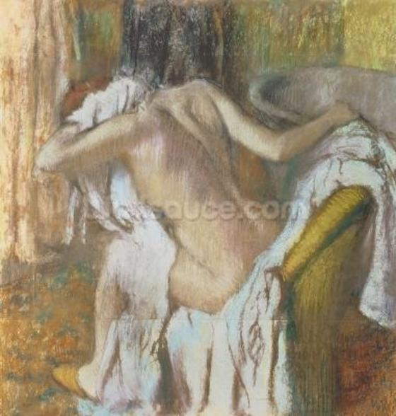 Woman drying herself, c.1888-92 (pastel) mural wallpaper