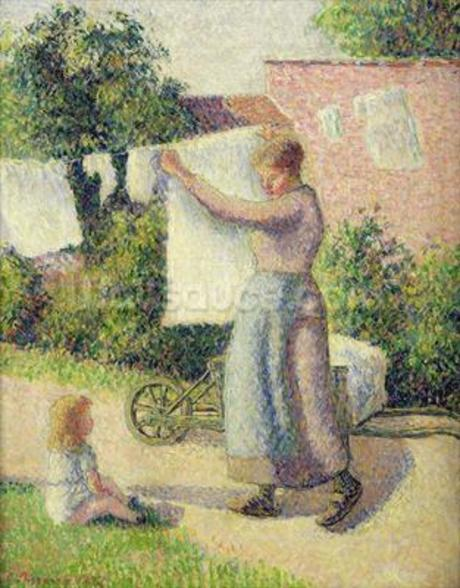 Woman Hanging up the Washing, 1887 (oil on canvas) wall mural