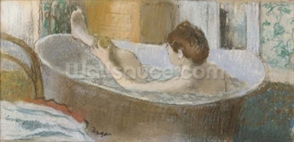 Woman in her Bath, Sponging her Leg, c.1883 (pastel on paper) wall mural
