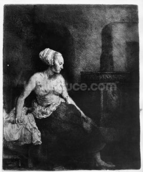 Woman sitting half-dressed beside a stove, 1658 (etching) wall mural