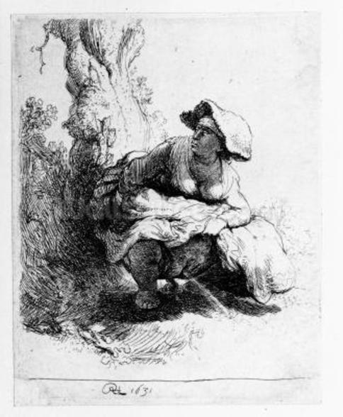 Woman urinating under a tree, 1631 (etching) wall mural