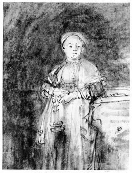 Woman with a Candle, c.1631 (pen, ink & wash on paper) wall mural