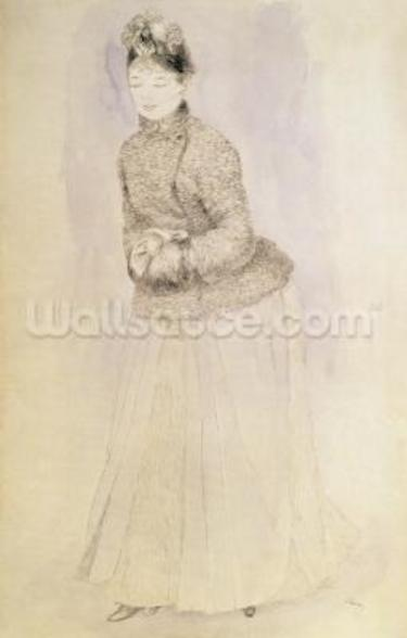Woman with a Muff, 1883-84 (pen & ink on paper) wall mural
